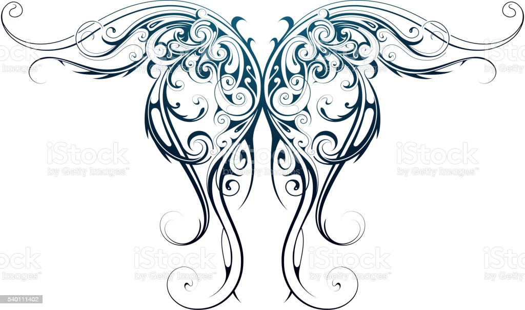 Wing shape tattoo vector art illustration