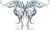 Wing shape tattoo