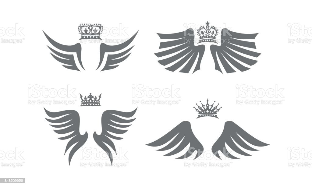 Wing Shield Crown Collection vector art illustration