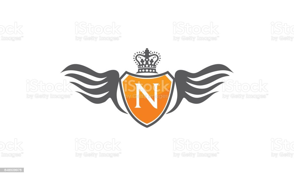 Wing Shield Crown Initial N vector art illustration