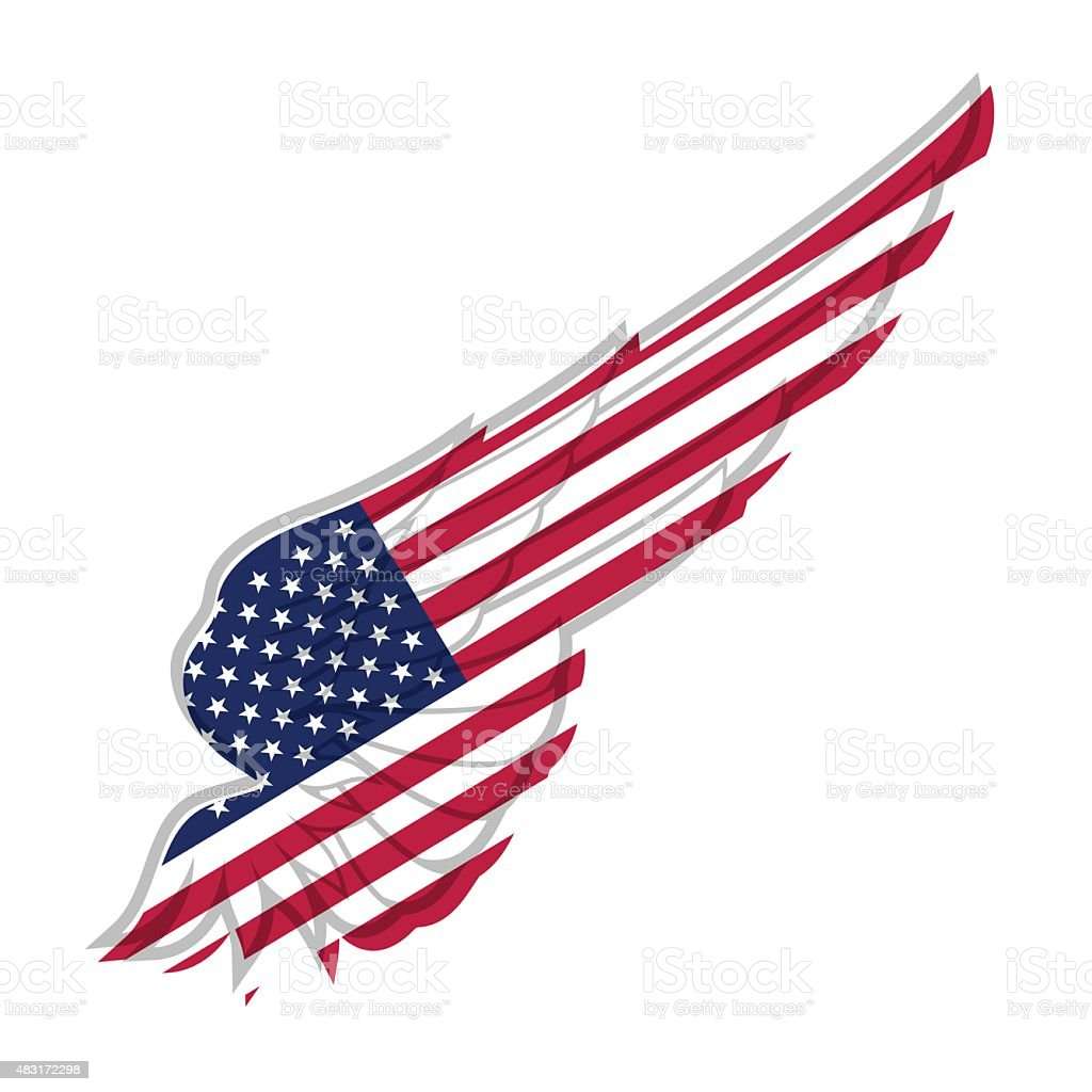 Wing with american flag on white background. Vector illustration vector art illustration