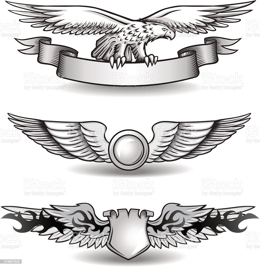 Winged Awards Set with Eagle vector art illustration
