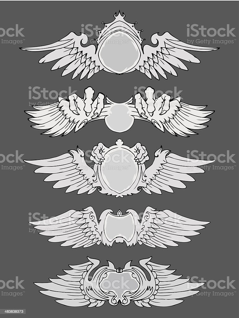 winged badges isolated vector art illustration