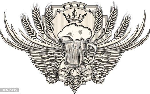 istock Winged beer emblem 165954953