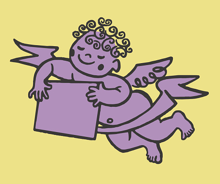 Winged Cherub with Sign and Banner