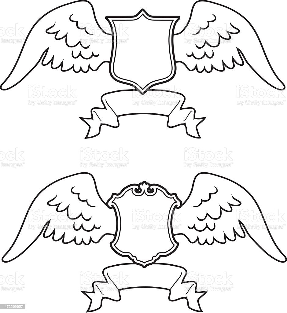 Winged Coats of Arms - 1 credit royalty-free stock vector art