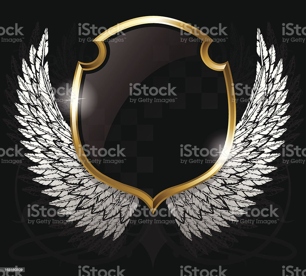 Winged Crest with Shield royalty-free stock vector art