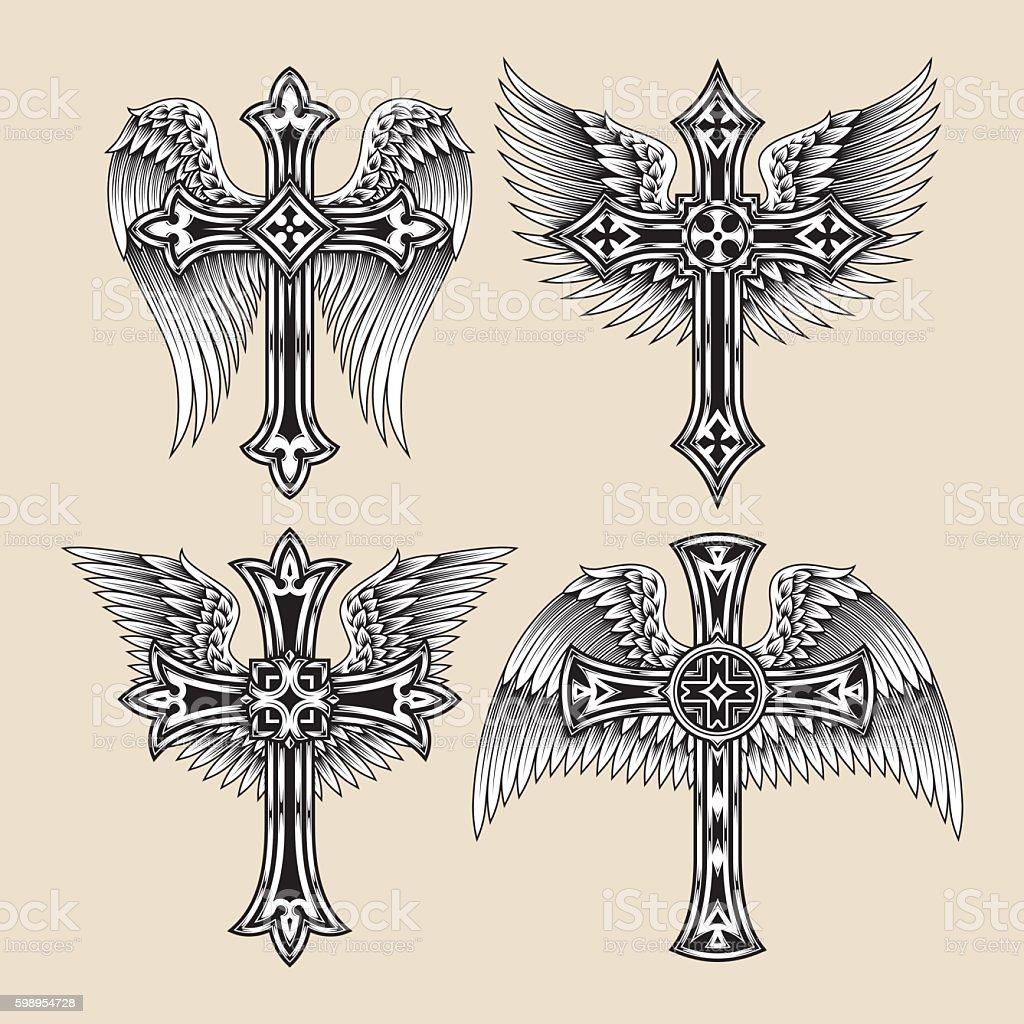 Ensemble d'ailes Cross - Illustration vectorielle