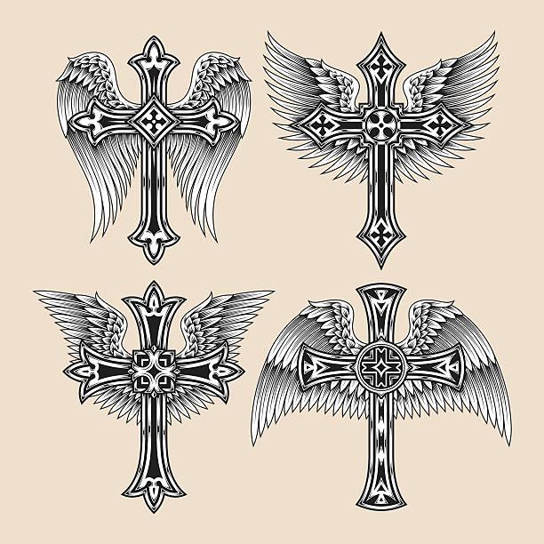 illustrations, cliparts, dessins animés et icônes de ensemble d'ailes cross - tatouages d'ailes
