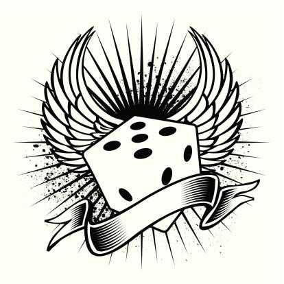 winged dice tattoo