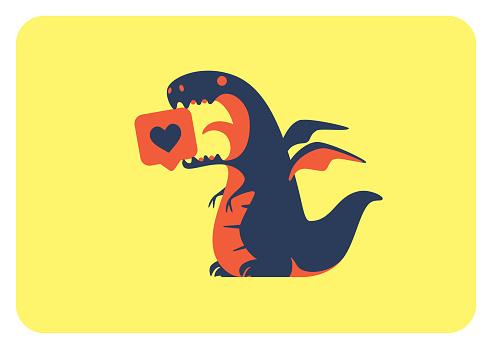 winged dinosaur holding like icon