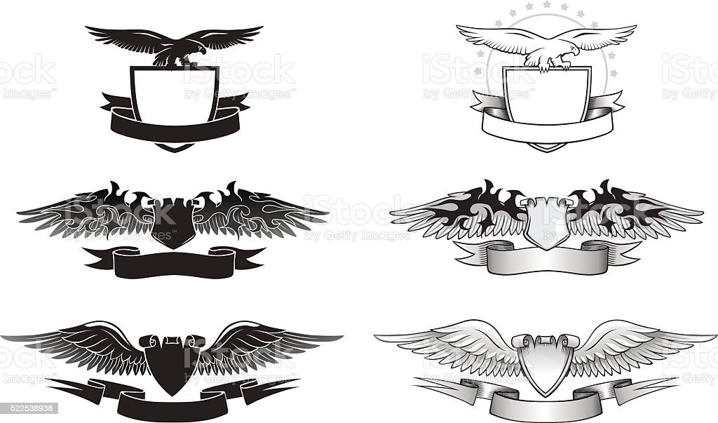 Winged Emblem set with Eagles, Wings and Shields vector art illustration