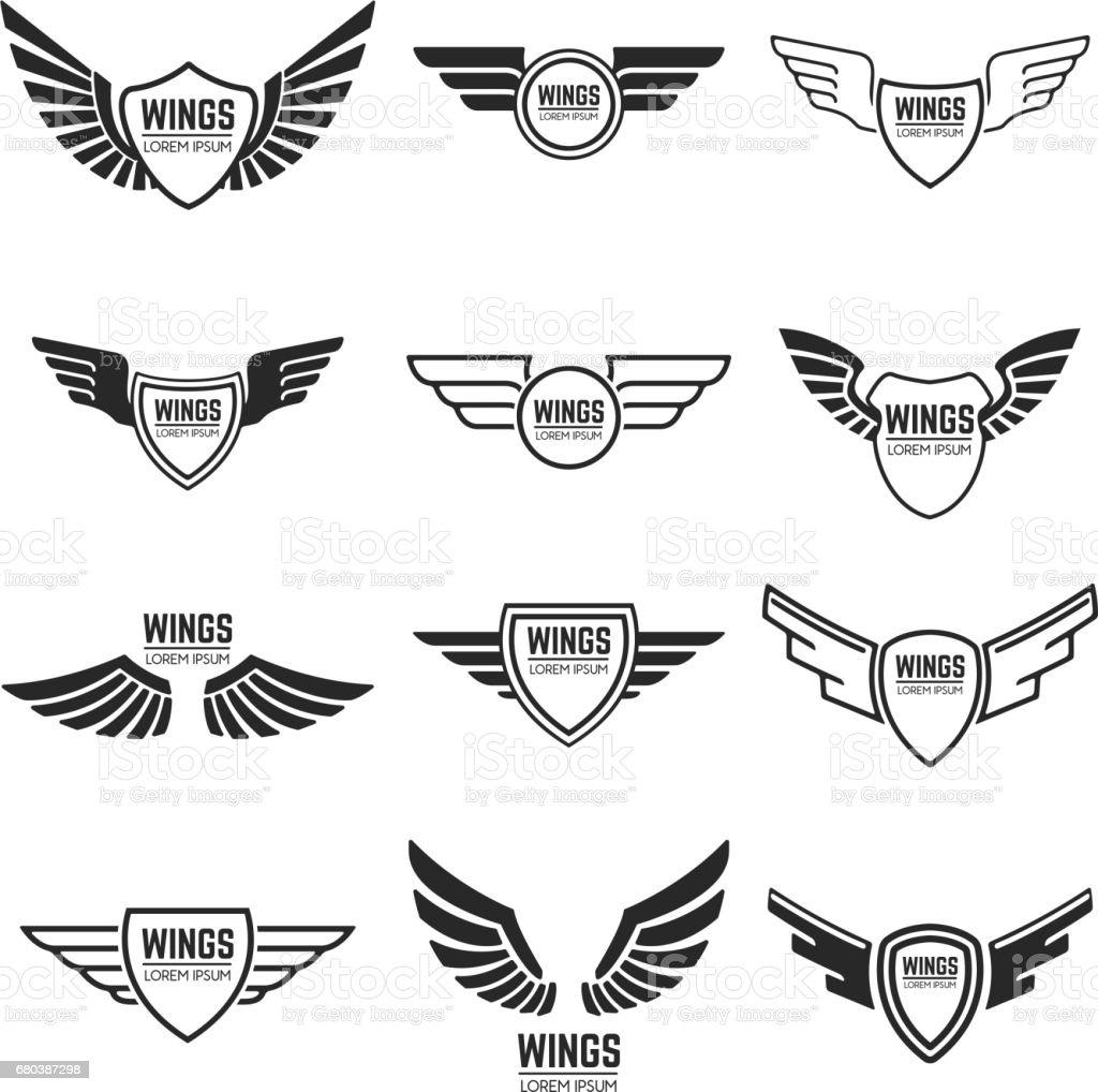 Winged emblems, frames, icons, angel and phoenix wings. Design elements for emblem, sign, brand mark. Vector illustration.