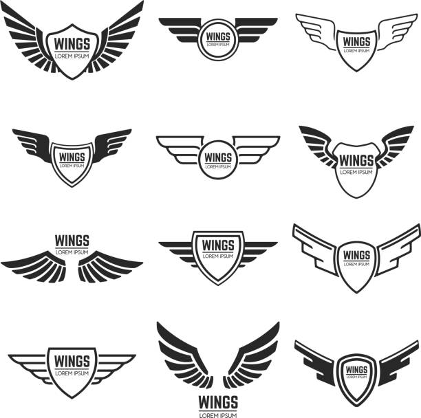 Alados, Marcos, iconos, emblemas, alas de Ángel y Fénix. Diseño de elementos para el emblema, señal, marca. Ilustración de vector. - ilustración de arte vectorial