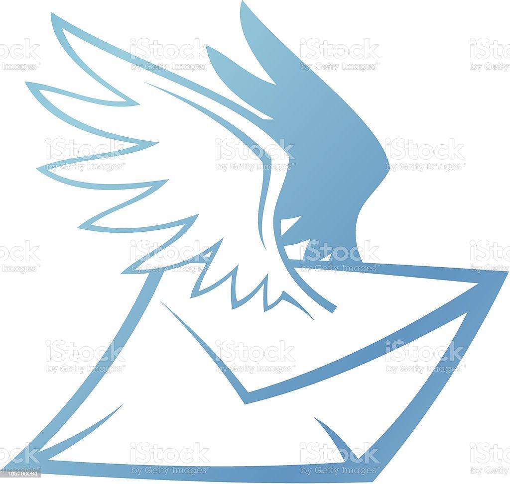Winged Envelope royalty-free stock vector art