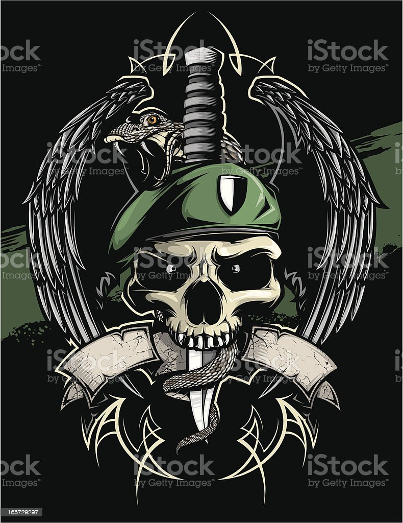winged green beret skull vector art illustration