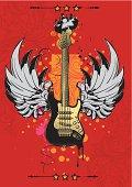 rock-styled guitar emblem, vector artwork