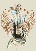 guitar & graffiti arrows - rock-styled music emblem, layered vector artwork