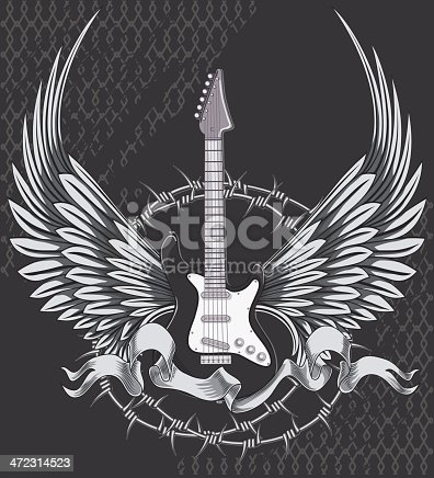 rock-styled music design, layered vector artwork