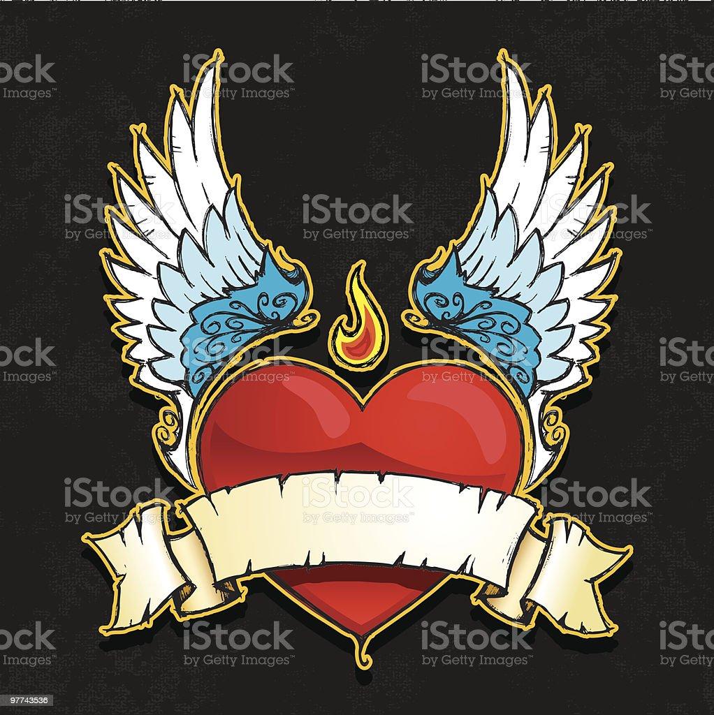 Winged cœur bannière - Illustration vectorielle