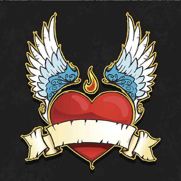 ilustraciones, imágenes clip art, dibujos animados e iconos de stock de corazón con alas banner - tatuajes de alas