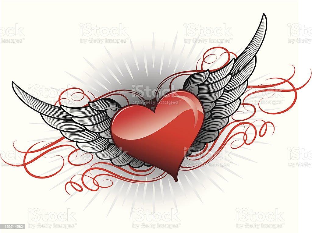 Ilustración De Alas Corazón De San Valentín Y Más Banco De Imágenes
