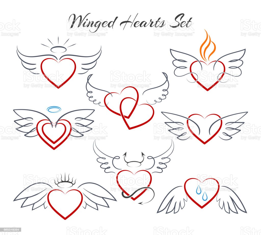 Winged heart set. Hearts with wings in doodle style vector illustration isolated on white background
