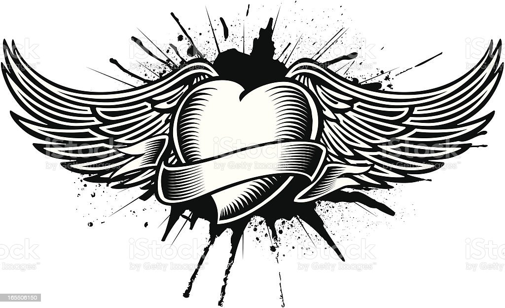 winged heart tatoo vector art illustration