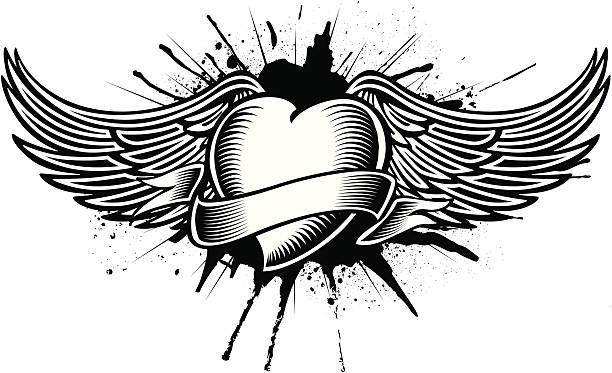 ilustraciones, imágenes clip art, dibujos animados e iconos de stock de corazón con alas tatoo - tatuajes de ángeles