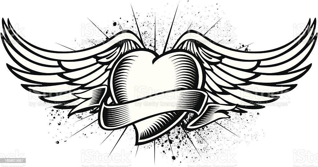 Ilustración De Corazón Con Alas Tatuaje Y Más Banco De Imágenes De