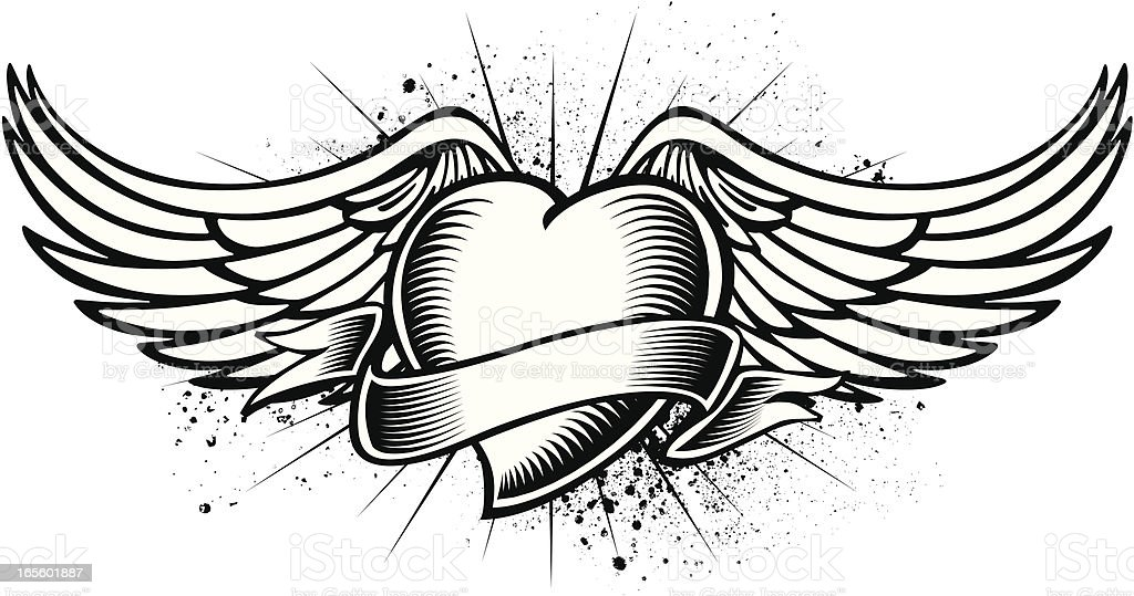 Winged Heart Tattoo vector art illustration
