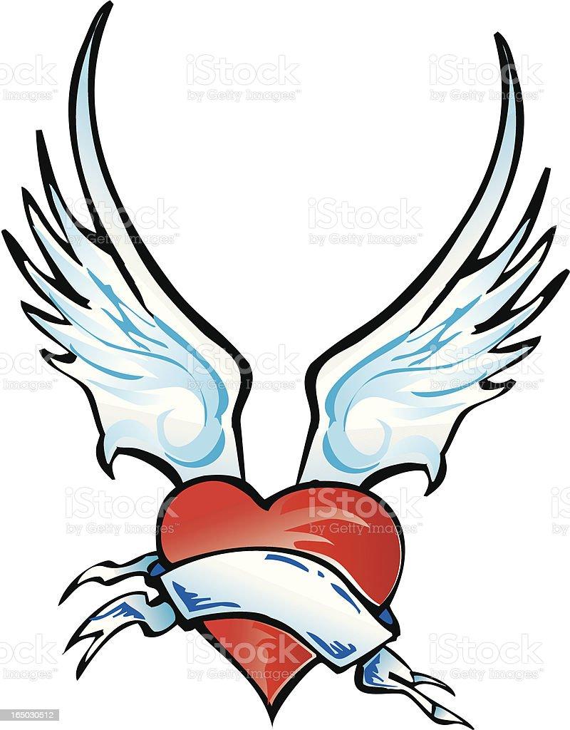 winged coração vetor - ilustração de arte em vetor