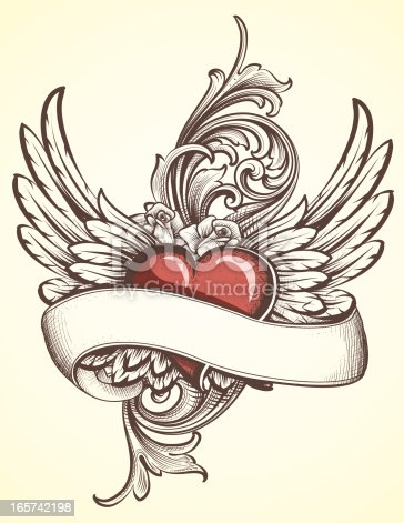istock Winged Heart with Scroll tattoo 165742198