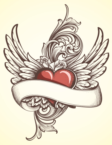 Winged Heart with Scroll tattoo