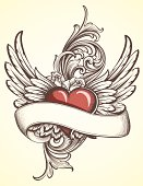 Designed by a hand engraver. Tattoo style design of sketched flying heart with banner, roses, and engraved scrollwork. Change color and scale easily with the enclosed EPS and AI files. Also includes hi-res JPG.