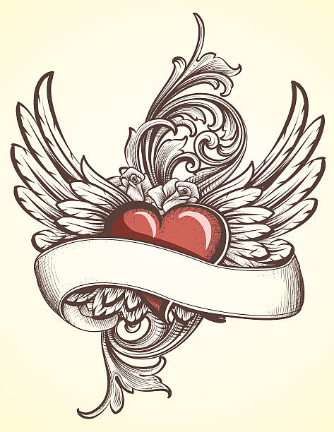 Winged Heart with Scroll tattoo vector art illustration