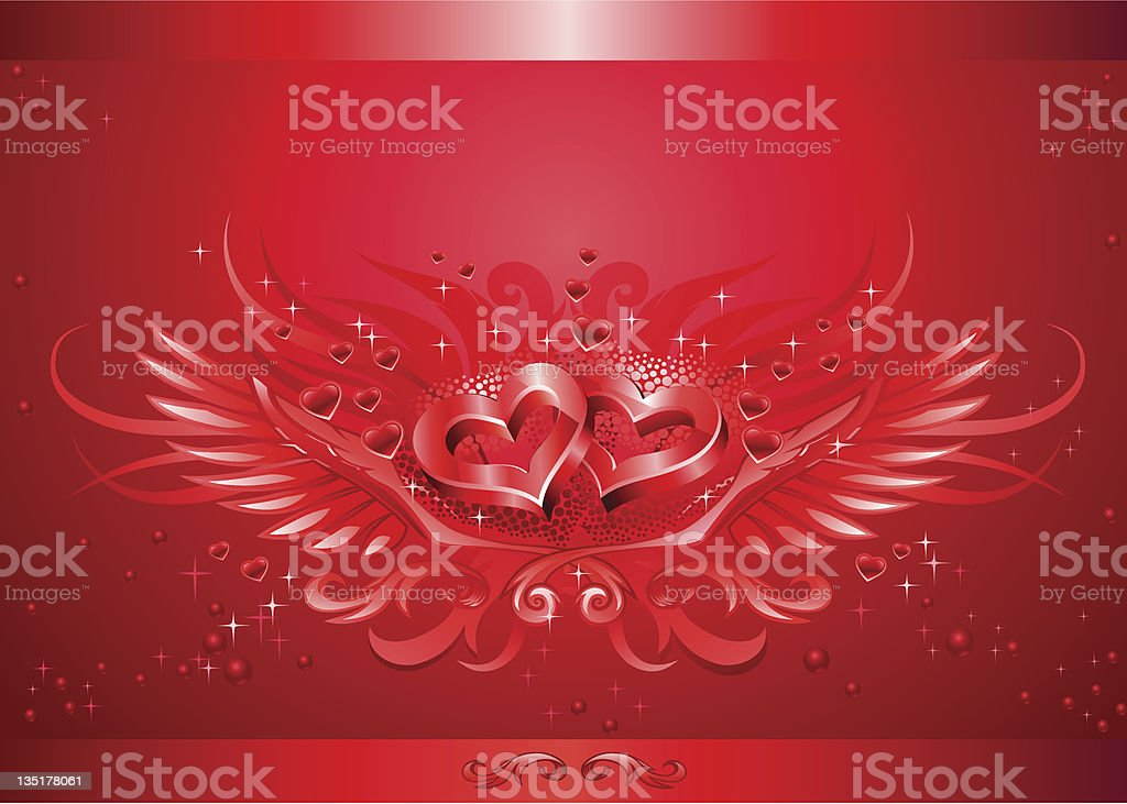 Winged hearts card vector art illustration