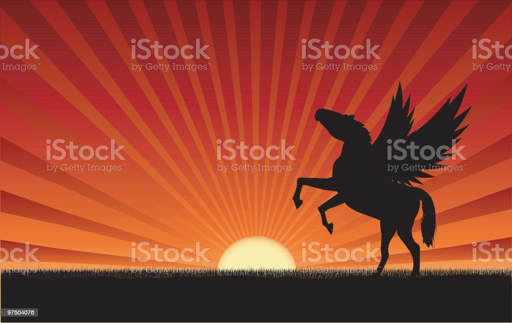 Winged horse in grass with a sun at the horizon royalty-free winged horse in grass with a sun at the horizon stock vector art & more images of animal body part