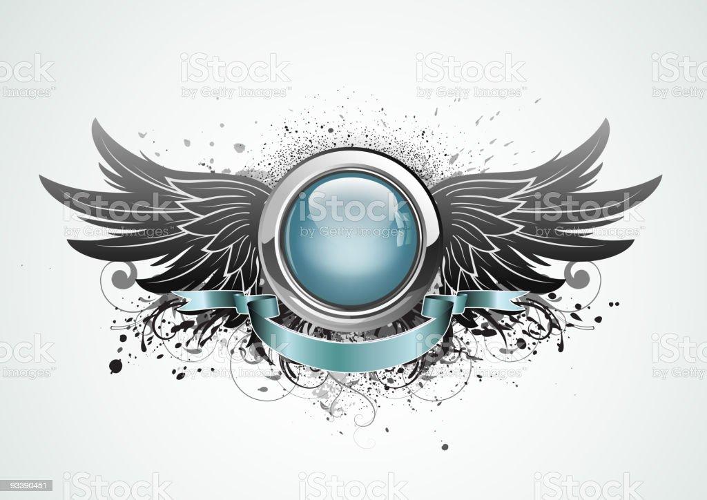 winged insignia vector art illustration