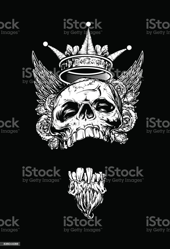 Geflügelte König Totenkopf mit Rosen und Krone – Vektorgrafik