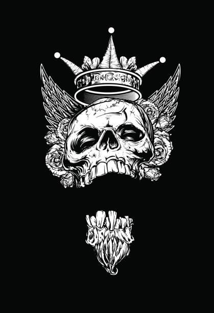 geflügelte könig totenkopf mit rosen und krone - totenkopf tattoos stock-grafiken, -clipart, -cartoons und -symbole