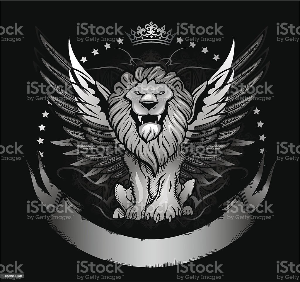 Winged Lion Front View Insignia vector art illustration