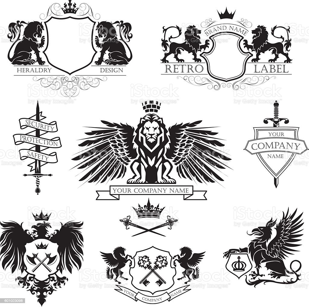 Winged lion set coat of arms vector art illustration