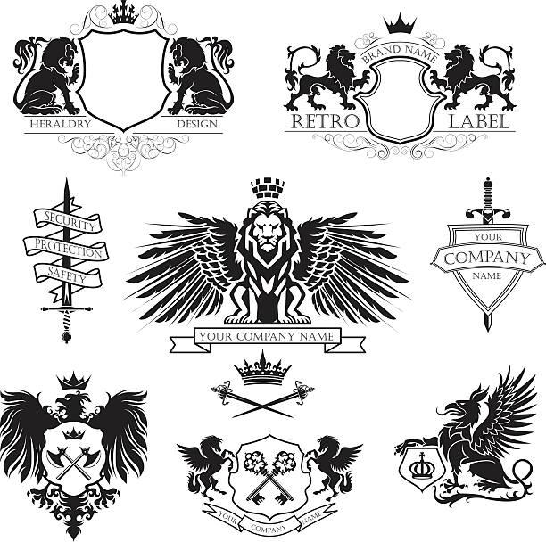 Winged lion set coat of arms – Vektorgrafik