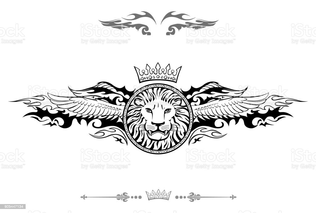 Winged Lion Shield Insignia vector art illustration