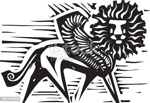 Woodcut style image of Persian mythological winged lion