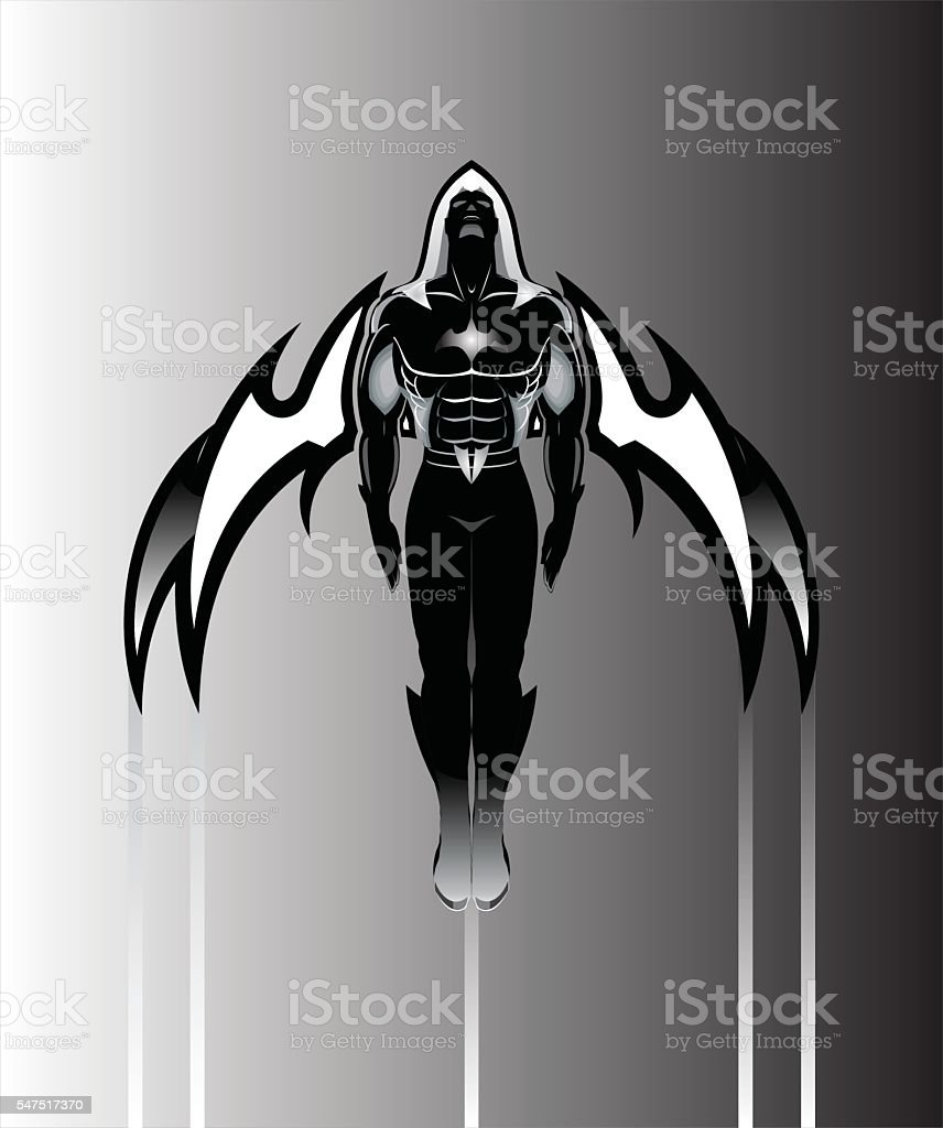 Winged man. Winged Superhero with the hood.