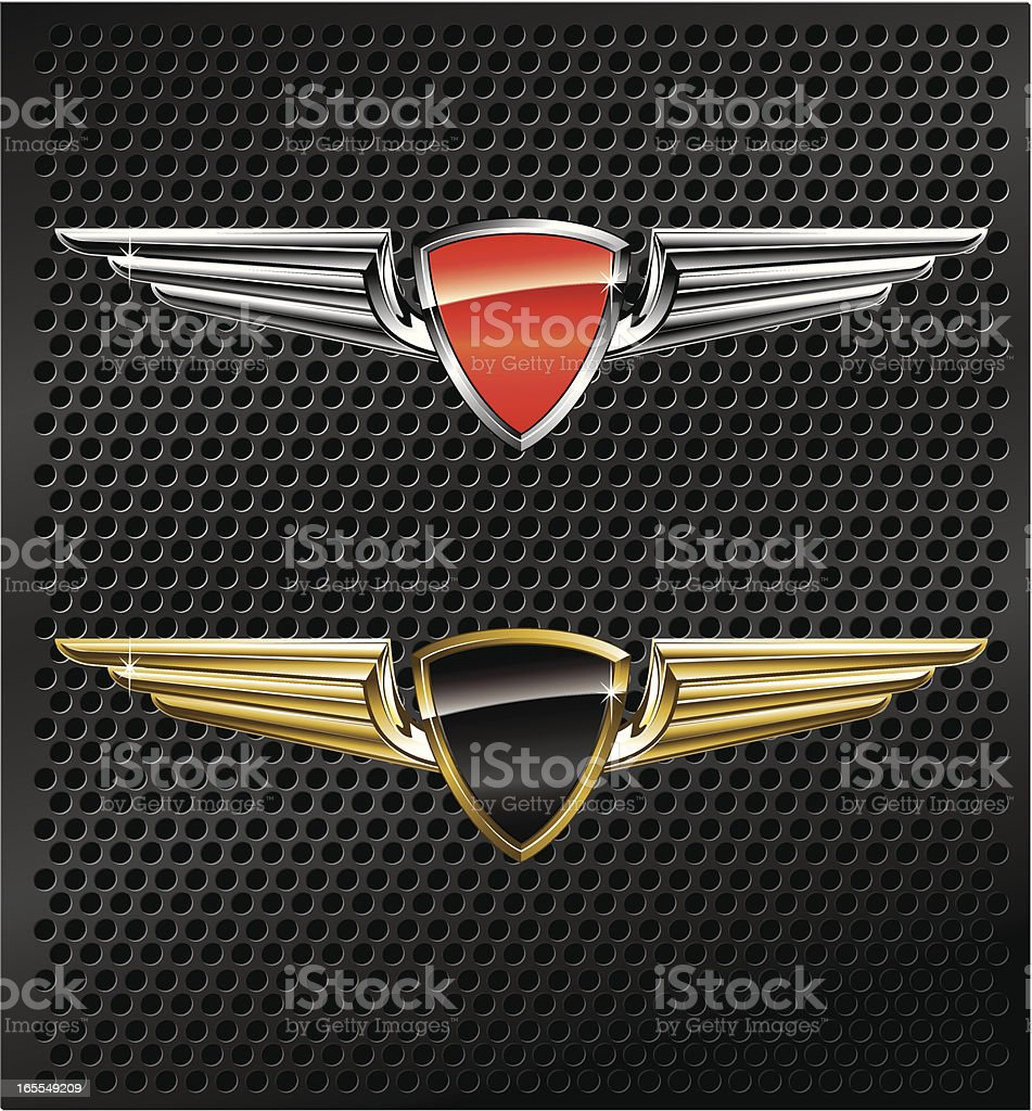 Winged Metallic Emblems royalty-free stock vector art