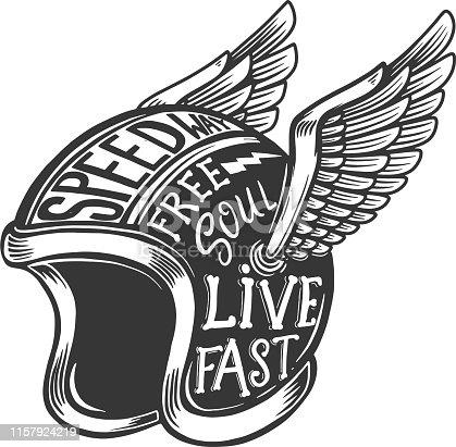 Winged motorcycle helmet with lettering on light background. Design element for label, sign, poster, banner, t shirt. Vector illustration