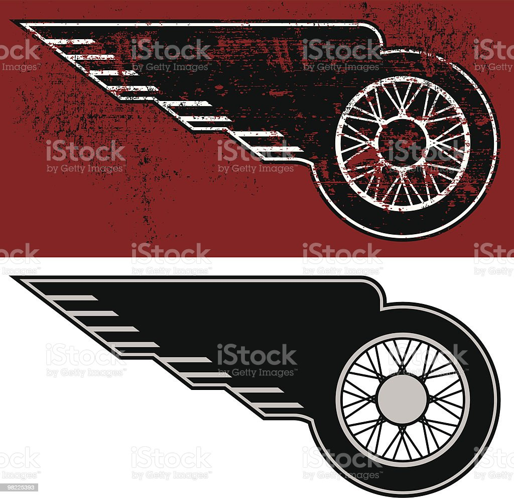 Winged Motorcycle Wheel royalty-free winged motorcycle wheel stock vector art & more images of animal wing